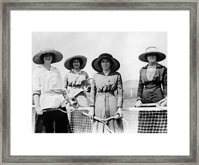 Womens Tennis Team 1914 1915 Black White 1910s Framed Print by Mark Goebel