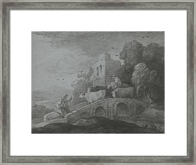 Wooded Landscape With Herdsman Driving Cattle Over A Bridge Framed Print