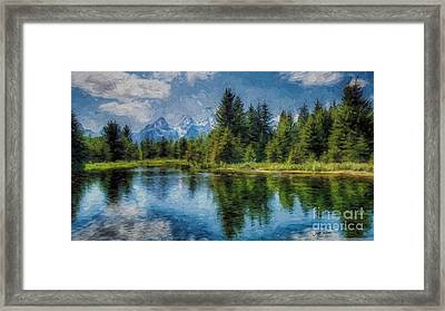 Wyoming Tetons Spruce Mountain Lake. Oil Painting . Framed Print by Heinz G Mielke