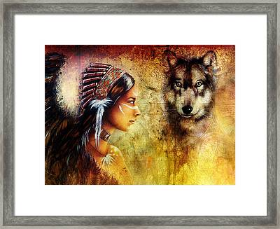 Young Indian Woman Wearing  With  Wolf And Feather Headdress Framed Print by Jozef Klopacka