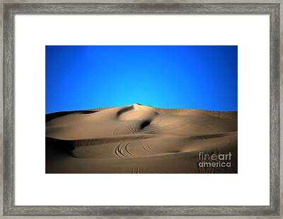 Yuma Dunes Number One Bright Blue And Tan Framed Print