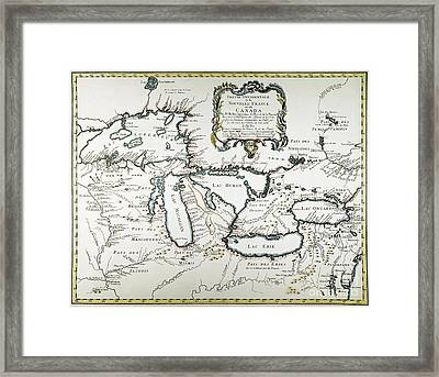 Great Lakes Map, 1755 Framed Print by Granger