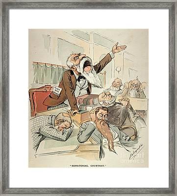 Senate Cartoon,free Silver Framed Print by Granger