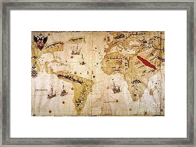 Vespucci's World Map, 1526 Framed Print by Granger