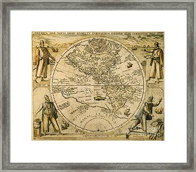 W. Hemisphere Map, 1596 Framed Print
