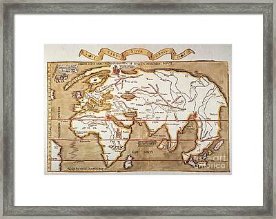 Waldseemuller: World Map Framed Print by Granger
