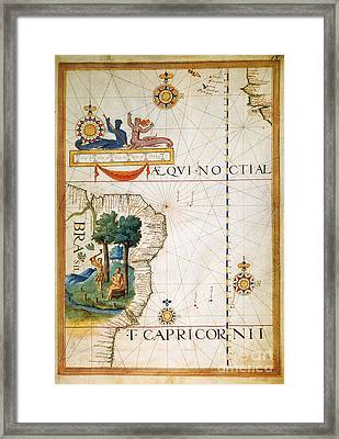 Brazil: Map And Native Indians Framed Print by Granger