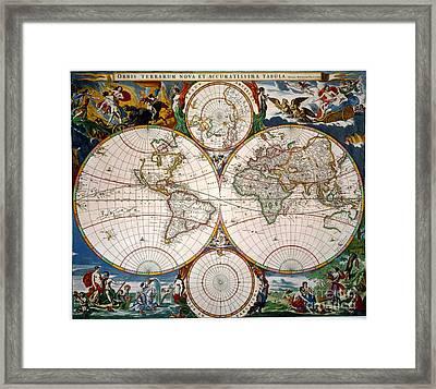 World Map, 17th Century Framed Print by Granger