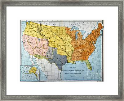 U.s. Map, 1776/1884 Framed Print by Granger