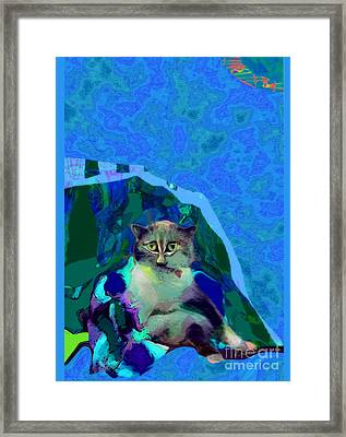 007 The Under Covers Cat Framed Print