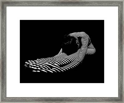 0086-dja Feet First Zebra Woman Striped Black White  Framed Print