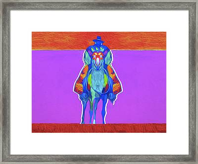 0086, Indian On Horse By Nixo Framed Print by Nicholas Nixo