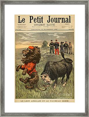 Boer War Cartoon, 1899 Framed Print by Granger