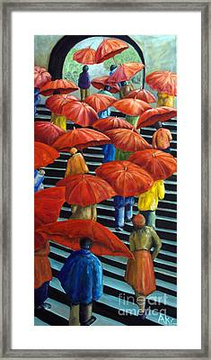 Framed Print featuring the painting 01149 Climbing Umbrellas by AnneKarin Glass