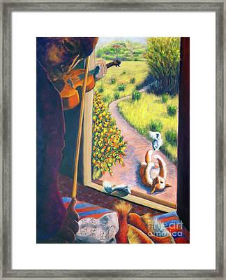 01349 The Cat And The Fiddle Framed Print by AnneKarin Glass