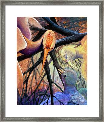 01357 Jungle Talk Framed Print by AnneKarin Glass