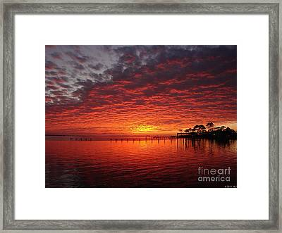 0205 Awesome Sunset Colors On Santa Rosa Sound Framed Print