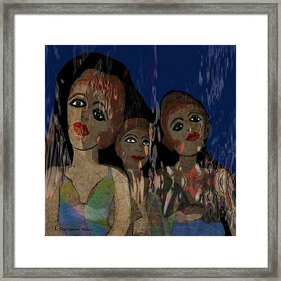 025 - Three  Young Girls   Framed Print