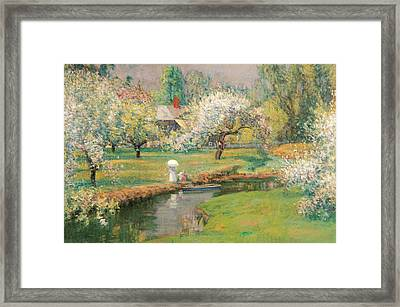 Lady With A Parasol By A Stream Framed Print