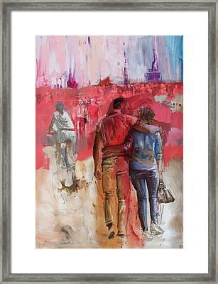 057 Newyork Lovers Framed Print by Maryam Mughal