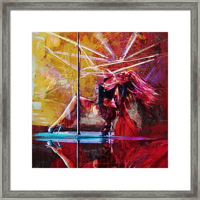 065 Vegas Fire City Of Sin Framed Print by Maryam Mughal