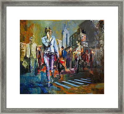 066 Ny Manhattan Street View New York Framed Print by Maryam Mughal