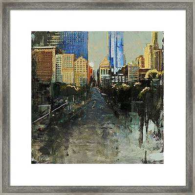 068 Roads Houses Skyscrapers Chicago City Street Framed Print