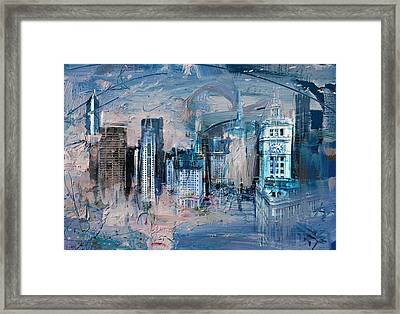 072 Wrigley Buildings In Chicago. Framed Print