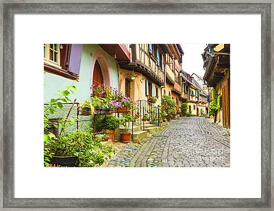 Half-timbered House Of Eguisheim, Alsace, France  Framed Print