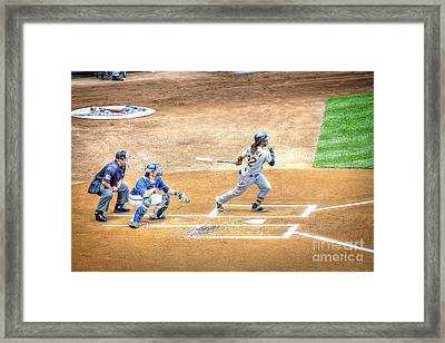 0990 Base Hit - Mccutchen Framed Print by Steve Sturgill