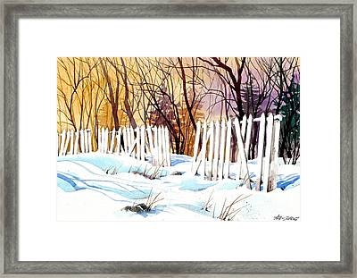 Fenced In Frost Framed Print by Art Scholz
