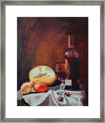Still Life With Wine Framed Print by Rose Sciberras