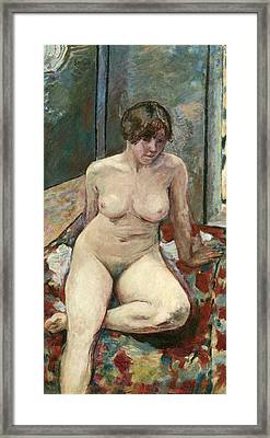 Nude Seated Leg Bent Framed Print by Pierre Bonnard