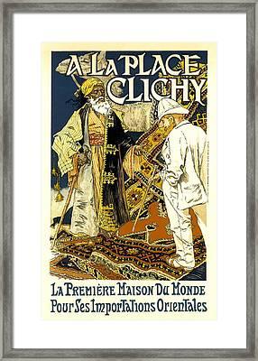 A La Place Clichy Framed Print by Eugene Grasset