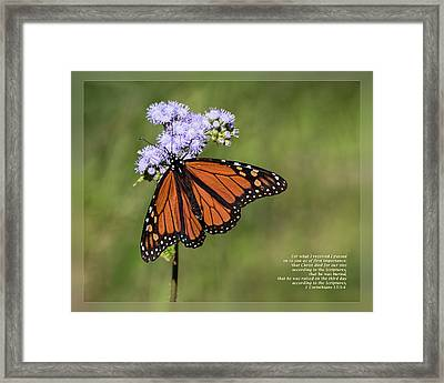 Framed Print featuring the photograph 1 Corinthians 15 3-4 by Dawn Currie
