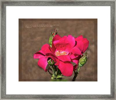 Framed Print featuring the photograph 1 John 4 16 by Dawn Currie