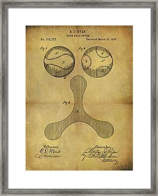 1876 Baseball Patent Framed Print by Dan Sproul