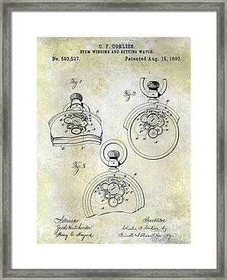 1893 Pocket Watch Patent Framed Print