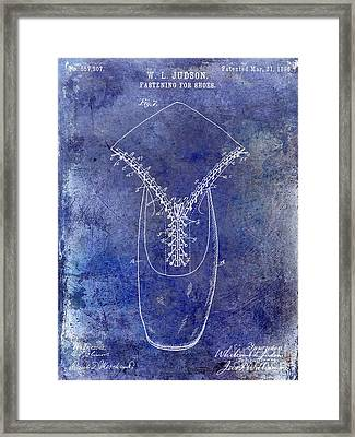 1896 Shoe Patent Blue Framed Print by Jon Neidert