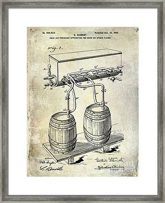 1900 Beer Keg System Patent Framed Print by Jon Neidert