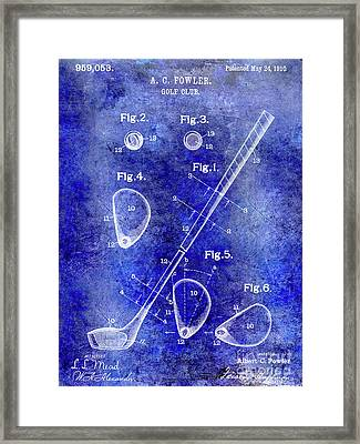 1910 Golf Club Patent Blue Framed Print by Jon Neidert