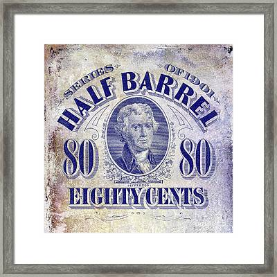 1901 Half Beer Barrel Tax Stamp Framed Print