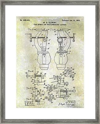 1902 Watchmakers Lathes Patent Framed Print