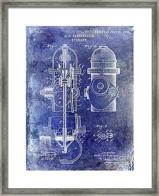 1903 Fire Hydrant Patent Blue Framed Print by Jon Neidert