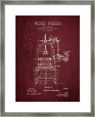 1903 Wine Press Patent - Red Wine Framed Print