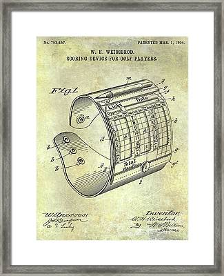 1904 Golf Scoring Device Blueprint Framed Print by Jon Neidert