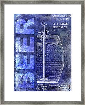 1907 Beer Tapper Patent Blue Framed Print