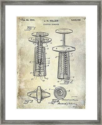 1907 Corkscrew Patent Blue Framed Print