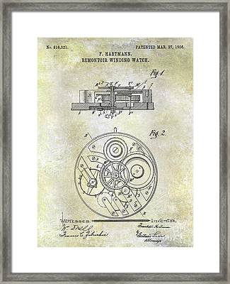 1908 Pocket Watch Patent  Framed Print by Jon Neidert