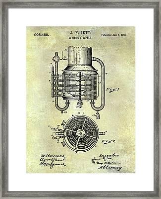 1909 Whiskey Still Patent  Framed Print by Jon Neidert